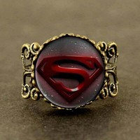 USA Hero Hot Sale Superman Design Ring with Quartz Watches Mens Gift Free Shipping Ring 12pcs/lot mens