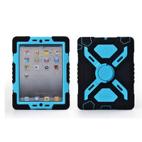 Hot Newest iPad Mini 1 & 2 Silicone Plastic Kid Proof Extreme Duty Dual Protective Back Cover Case with Kickstand and Sticker for Apple iPad Mini & iPad Mini with Retina Display - Rainproof Sandproof Dust-proof Shockproof (Black/blue)