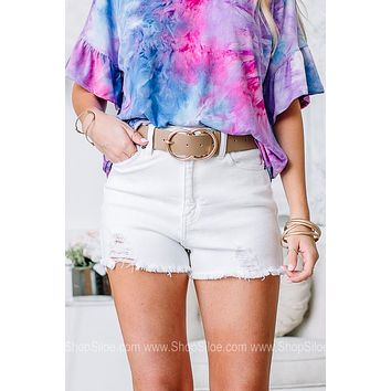 On Cloud 9 Crisp White Denim Shorts