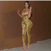 Gold Cut-Out Jumpsuit