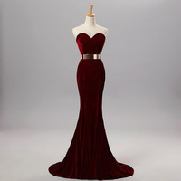 Hanyige Velvet With Metal Belt Mermaid prom dress long Party Dress