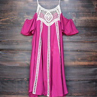 wine and dine cold shoulder boho dress in berry