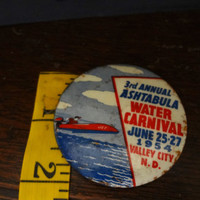 Vintage Pinback Button 3rd Annual Ashtabula Water Carnival 1954 Valley City N.D. Some Wear And Rust
