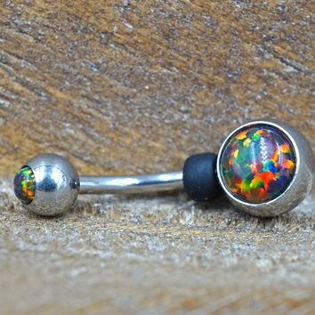 Multi Color Opal Belly Button Ring