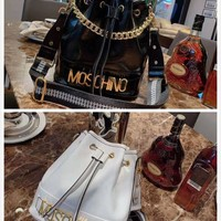 MOSCHINO WOMEN'S LEATHER BUCKET INCLINED SHOULDER BAG