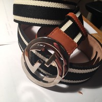 Gucci Navy White Stripe Canvas Leather G Buckle Mens Belt Used Mint Auhtentic
