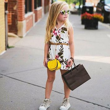 US Summer Toddler Baby Kids Girls Floral Romper Bodysuit Jumpsuit Outfit Clothes