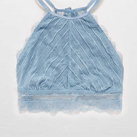 Aerie Lace Hi-Neck Bralette, Jeweled Blue