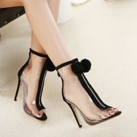 Women Pumps High Heel Peep Toe Transparent Clear Ankle Boots