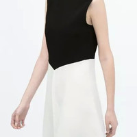 Block Sleeveless Zipper-Back Dress
