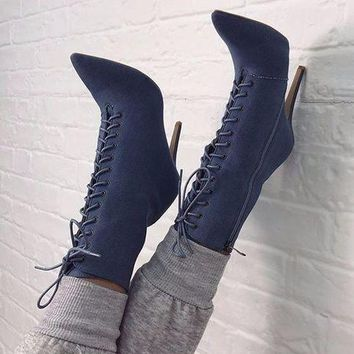Pointed Toe Lace Up Side Zipper Short Boots