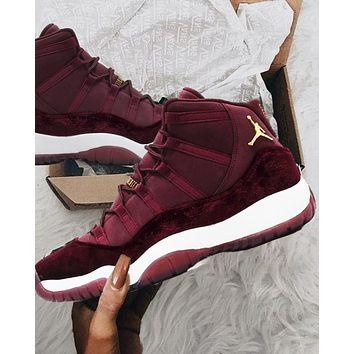 "Wine red Trending Sneakers Air Jordan 11 Retro ""Platinum Tint"" AJ11s - Best Deal Online B"