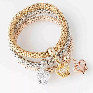 Trio Crown Bracelet Set