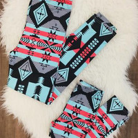 Mommy & Me Blue and Coral Aztec Leggings