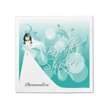 Bridal Shower in a Pretty Turquoise Blue and White Standard Cocktail Napkin