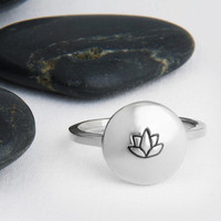 Ring in Sterling Silver,  Handmade Lotus Flower Stamped in Recycled Silver