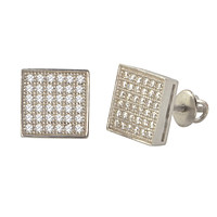 Mens Screwback Earrings .925 Sterling Silver Studs Cubic Zirconia Square 9mm
