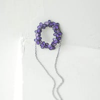 Forget Me Not Necklace in Lavender Purple, Paper Artisan Jewelry Sterling Silver....