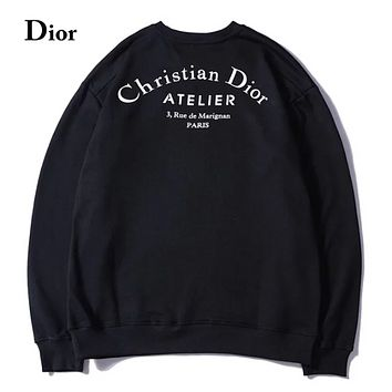 DIOR New fashion letter print long sleeve top sweater Black