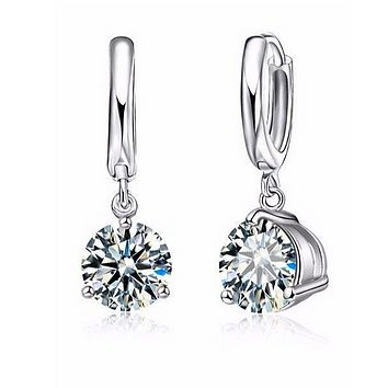 Crystal Solitaire Round Cut 2Ct Earrings for Women