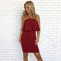 Show Stopper One Shoulder Dress in Burgundy