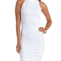 White Turtleneck Halter Bodycon Dress by Charlotte Russe