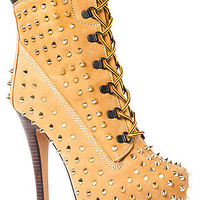 The Jo Bootie in Studded Tan