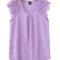 Lace Spliced Sleeveless Womens Blouse Tops/Womens Lace Shirt