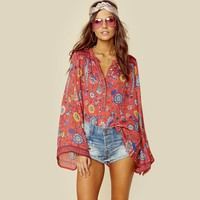 Hippie blouse with birds & flowers bell sleeves blouse
