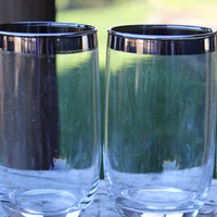 Set of mid century glassware / barware, vintage silver rimmed 8 ounce tumblers silver rimmed bar cart glasses silver rimmed juice glasses