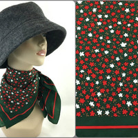Red Green & White Floral Neck Scarf Vintage 70's Lightweight Polyester Headscarf Red and Green Blooming Flower Scarf Floral Bandanna