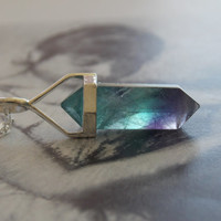 Fluorite Point Crystal Pendant Necklace, Double Pointed, Sterling Silver, Modern, Minimalist