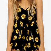 Black Sunflower Print Spaghetti Strap Romper with Pom Deco