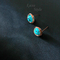 Post Turquoise Ear Rings Copper Metal Stud Ear Rings Handmade Jewelry Wire Wrapped Gifts for her Luxe Style