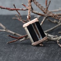 agate necklace black pendant copper electroformed gemstone jewelry gift for women