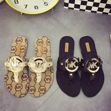 MICHAEL KORS Fashion new metal buckle herringbone more letter women casual shoes slippers two color