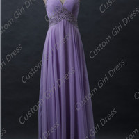 Lavender Lace up Fully beaded straps Sweetheart neckline long chiffon Dress Wedding/Bridesmaid/Fashion/Evening/Prom/Homecoming Dress