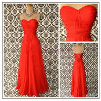red floor length prom dress   sweetheart lace up prom gowns   cheap fall chiffon dresses for evening