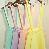 Sweet Ice Cream Color Overall Dress (Removable Strap)