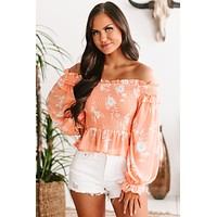 May Flowers Smocked Off The Shoulder Top (Coral)