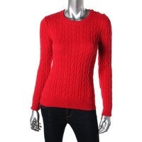Charter Club Womens Petites Cable Knit Asymmetric Pullover Sweater