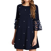 felainse29 Large size polka dot flower sleeves solid color A-line casual loose jumpsuit short skirt women
