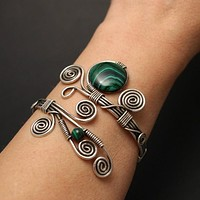 Handmade Malachite Wire Wrapped Bracelet
