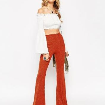 ASOS | ASOS 70's Flare Pants in Ribbed Lurex at ASOS