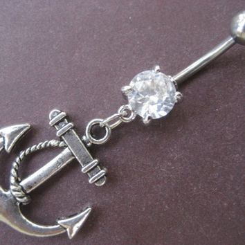 Nautical Anchor Charm Belly Button Navel Ring Piercing Body Jewelry Silver Tone