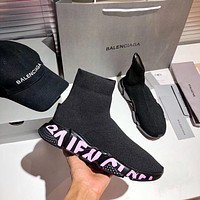 Balenciaga new couple knit fabric color printing outsole socks shoes