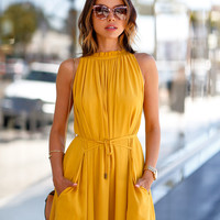 Yellow Halter Sleeveless Mini Skater Dress