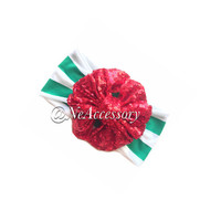 Holiday Bow Headbands, Red Bow Headwrap, Sequin Head Wrap, Holiday Head Wrap