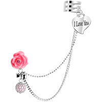 Pink Rose Faux Pink Pearl I Love You Heart Ear Cuff Chain Post Earring   Body Candy Body Jewelry
