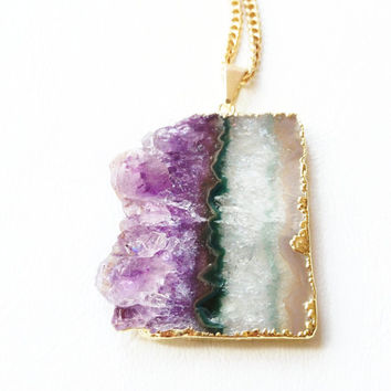 Amethyst Pendant Necklace, Raw Amethyst Druzy Crystal Necklace,